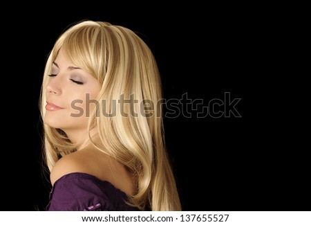 Beautiful young woman, eyes closed - stock photo