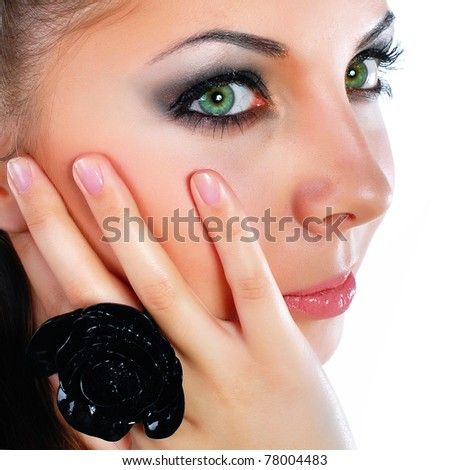 Beautiful young woman face. - stock photo
