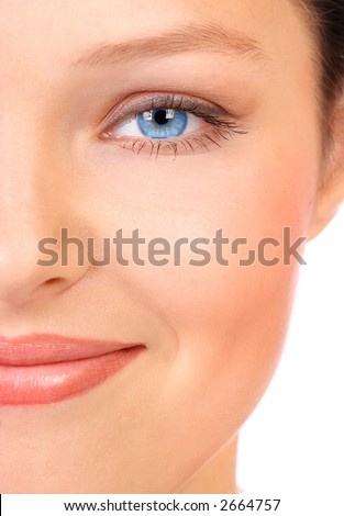 Beautiful young woman face. Close up. Over white background - stock photo