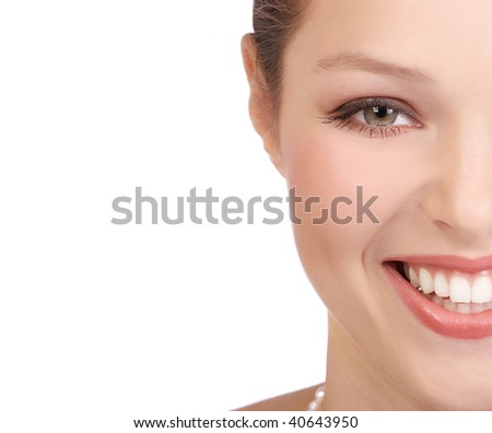 Beautiful young woman face. Over white background - stock photo