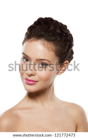 beautiful young woman face with makeup - stock photo