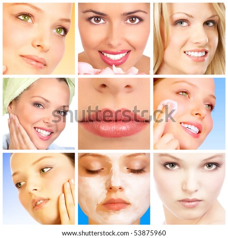 Beautiful young woman faces - stock photo