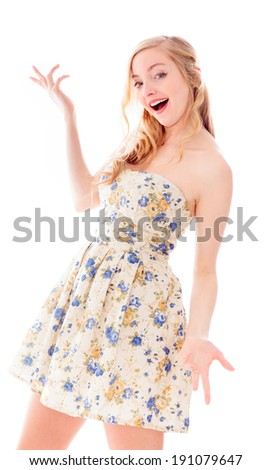 Beautiful young woman gesturing - stock photo