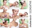 Beautiful young woman getting spa massage - stock photo