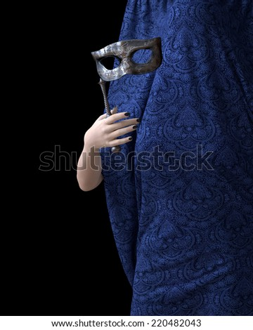 Beautiful young woman hand with curtain and carnival mask - stock photo