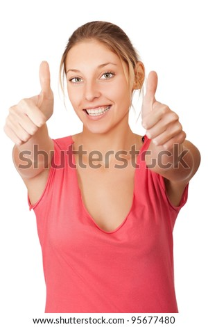 beautiful young woman hands make thumbs up isolated on white background - stock photo
