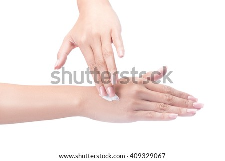 Beautiful young woman hands with cream, isolated on white with clipping path. - stock photo