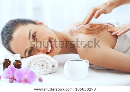 Beautiful young woman having a spa beauty treatment. - stock photo