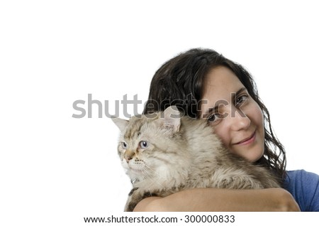 beautiful young woman holding a cat, isolated white background - stock photo