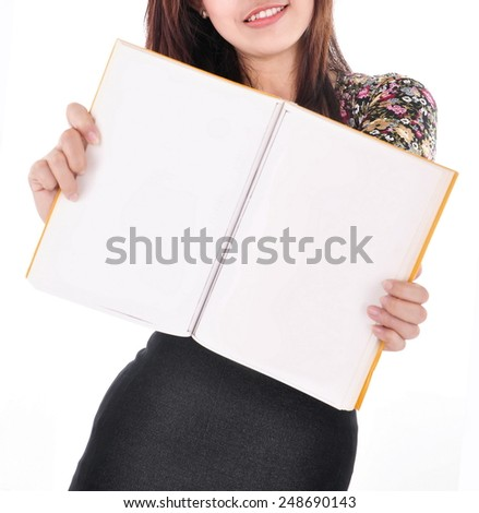 beautiful young woman holding an empty magazine, isolated on white background - stock photo