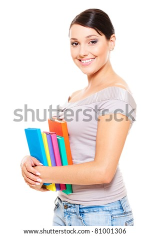 beautiful young woman holding books. isolated on white background - stock photo