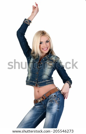 Beautiful young woman in a blue denim suit.  - stock photo