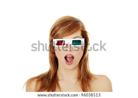 Beautiful young woman in 3d cinema glasses isolated on white background - stock photo