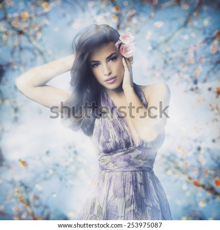 beautiful young woman in elegant dress and flowers in hair, photo compilation - stock photo