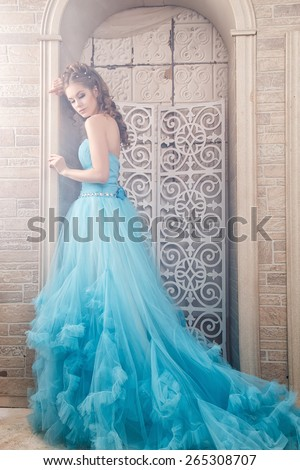 Beautiful young woman in gorgeous blue long dress like Cinderella with perfect make-up and hair style - stock photo