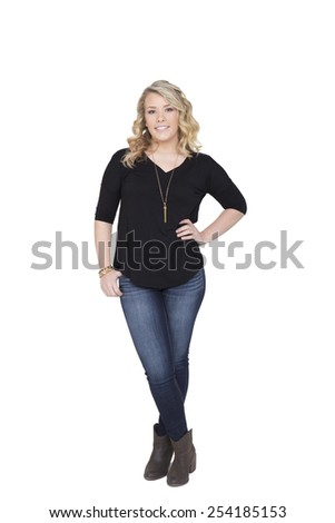 Beautiful young woman in late teens early twenties isolated on white - stock photo