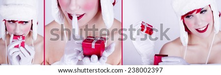 beautiful young woman in Santa hat.collage - stock photo