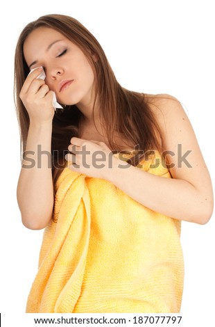 beautiful young woman in towel, white background - stock photo