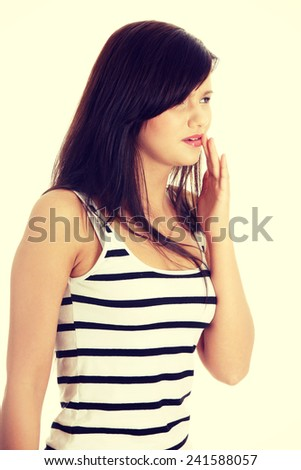Beautiful young woman is having toothache. - stock photo