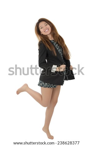 Beautiful young woman jumping against a white background - stock photo