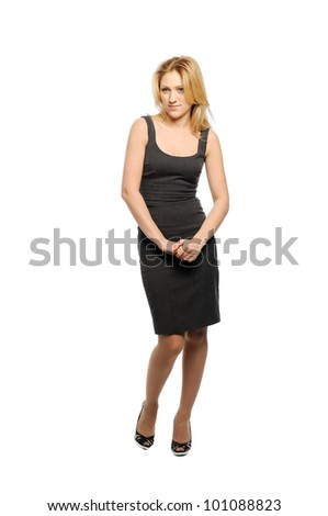 Beautiful young woman looks appreciatively. - stock photo