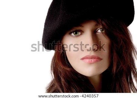 Beautiful young Woman on white with Beret - stock photo