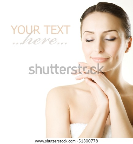Beautiful Young Woman over white - stock photo