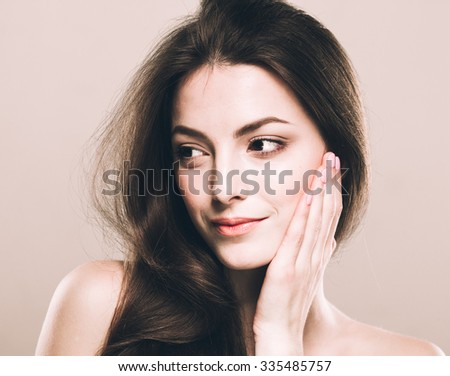 Beautiful young woman portrait cute tender pure smiling posing attractive nature background  - stock photo