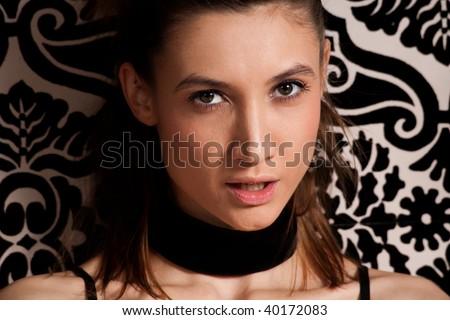 beautiful young woman portrait, indoor shot - stock photo