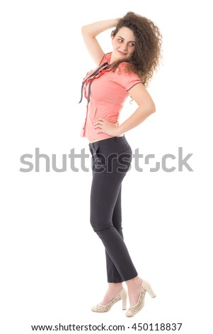 Beautiful young woman posing isolated on white background in full body - stock photo