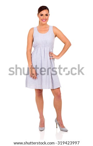 beautiful young woman posing on white background - stock photo
