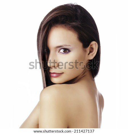 Beautiful young woman's face and eyes - stock photo