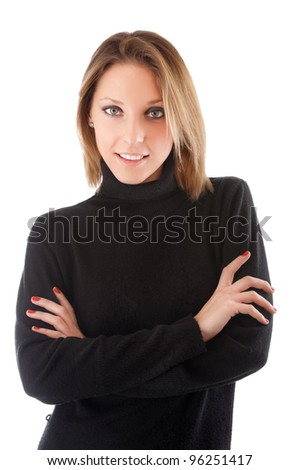 beautiful young woman standing with hands folded against isolated on white background - stock photo