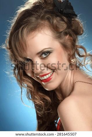 beautiful young woman. stylish hairstyle, make-up art. vivid emotions . gorgeous long, wavy Hair - stock photo
