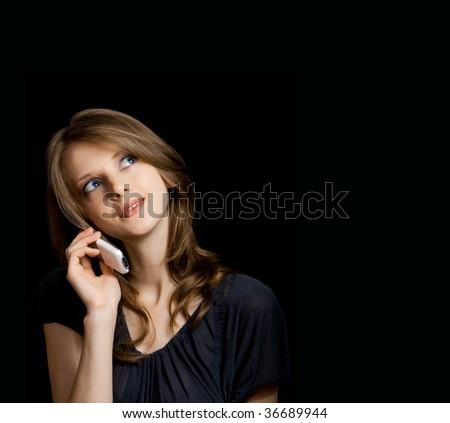 beautiful young woman talking - stock photo