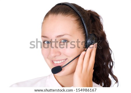 Beautiful young woman talking on the phone isolated on white background - stock photo