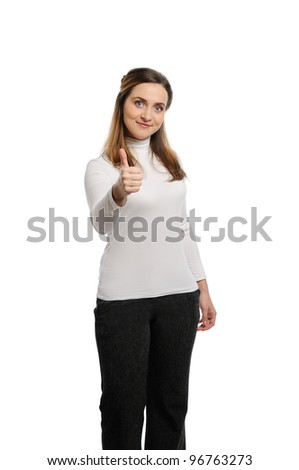 Beautiful young woman thumb up. Isolated on white background. - stock photo