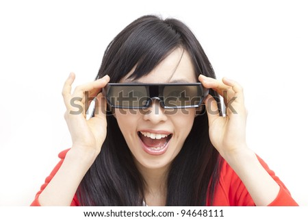 Beautiful young woman watching TV with 3D glasses - stock photo