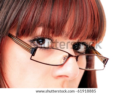 Beautiful young Woman Wearing Glasses - stock photo