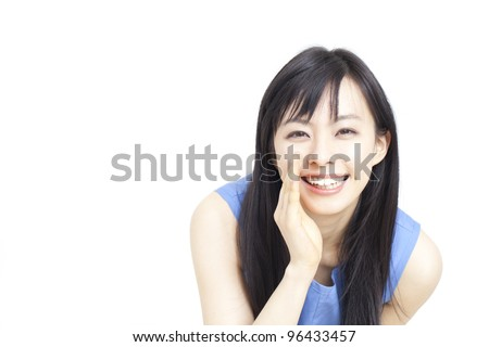 beautiful young woman whispering message isolated on white background - stock photo