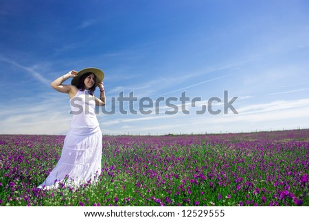beautiful young woman white white dress and had in the nature - stock photo