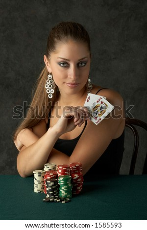 Beautiful Young Woman with Big Slick - stock photo