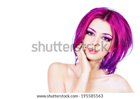Beautiful young woman with bright crimson hair. Skin care. Hair coloring. Isolated over white. - stock photo