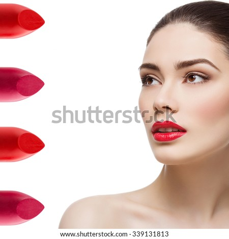 Beautiful young woman with bright red lips. Four lipstick shades on side. Isolated over white background. Copy space. Square composition. - stock photo