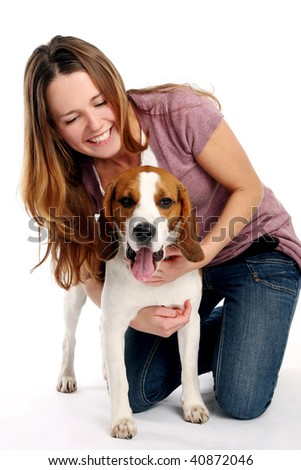 beautiful young woman with dogy - stock photo