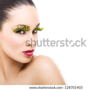 Beautiful Young Woman With False Eyelashes - stock photo