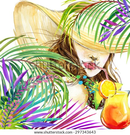 beautiful young woman with fruit cocktail and tropical leaves background. Girl and beach cocktail party. cocktail party poster background. watercolor illustration - stock photo