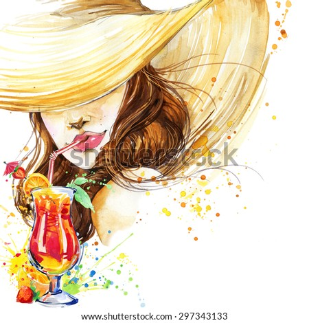 beautiful young woman with fruit cocktail. Girl and beach cocktail party. cocktail party poster background. watercolor illustration - stock photo