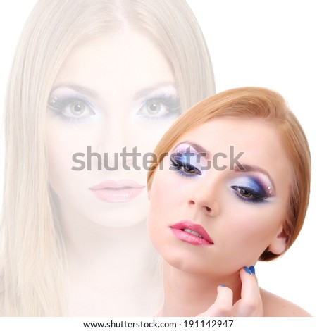 Beautiful young woman with glamour make up - stock photo