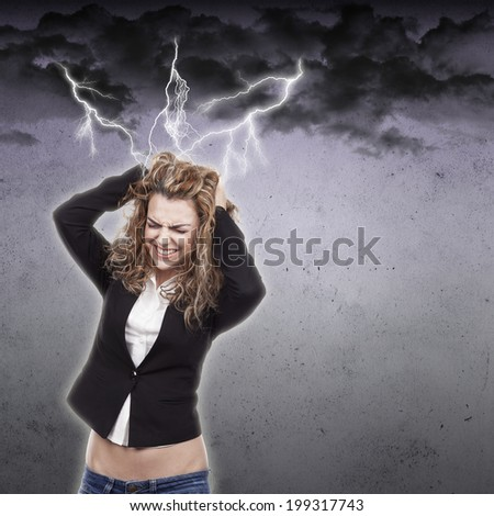 Beautiful young woman with headache - stock photo